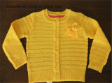 100% Cotton Acrylic Girls Pointelle Knitted Sweater Cardigan