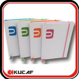 Die Cut Logo White PU Notebook with Colorful Edge