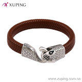 Fashion Cool Men Snake Leather Knitted Stainless Steel Jewelry Bangle (bangle-42)