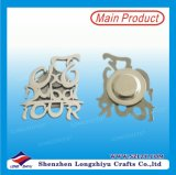 Silver Custom Logo Shape Metal Badge with Magnet Pin