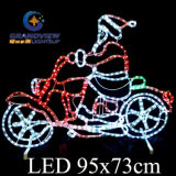 95X73cm Medium Santa Riding Motorcycle LED Motif Rope