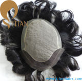 Brazilian Human Hair Toupee with Frontal Swiss Lace