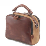 Top Layer Leather and Cavnas Women′s Handbag (RS-1011-H)