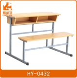 School Plywood Double Chairs with Attached Table