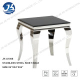 Modern Louise Black Marble Side Table with Stainless Steel French Style Legs