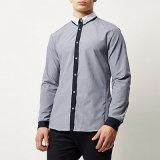 Navy Smart Contrast Placket Men Long Sleeve Shirt
