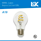 Warm White 7W 800lm A19 E26 Dimmable Spiral Filament Bulb LED Light