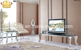 Wholesale Price Modern Glass Marble Top Stainless Steel TV Stand in Home Furniture