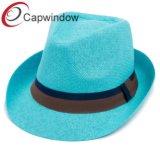 Blue Paper Straw Brown Band Leisure Fashion Summer Fedora Hat