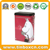 Food Grade Rectangular Coffee Tin Box with Plastic Airtight Lid