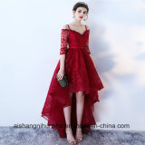 Asymmetrical Wedding Dress Lace Evening Gowns V-Neck A Line Gown