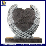 Hot Design Angel Wings with Heart Carving Headstone