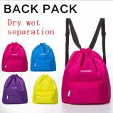 Dry and Wet separation Drawstring Swim Bag, Waterproof Polyester Swim Bag