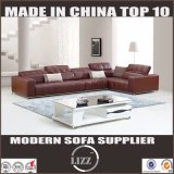 Pinyang Living China Top Grain Living Room Leather Sofa with Corner