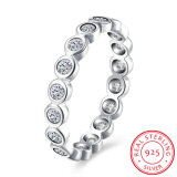 925 Sterling Silver Simple Round Shape Zircon Ring Fashion Jewelry for Women