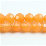 Frosted Dyed Jade Football Faceted Rounds Gemstone Beads (SL72325)