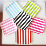 "Disposable Square 7"" Hot Striped Paper Plates for Party"