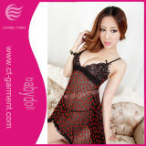 Women Transparent Flocking Lace Sexy Lingerie (BD3005)