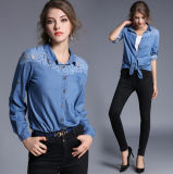 Wholesale Autumn New Desing Collar with Buttons Lace Washed Long Sleeves Lady's Jean Shirt