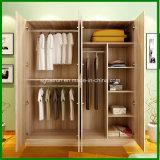 4 Doors Wood Panel Wardrobe Cabinet