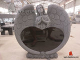 Natural Stone Angel Headstone Monument / Headstone with Heart