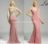 V-Neck Pink Mermaid Mother′s Gowns Sheer Evening Dresses Z7027