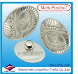 Egg Shape Chrome Badge with Military Tie Back Clutch (LZY-10000374)