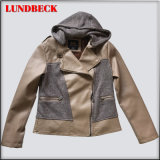 New Design PU Jacket for Women with Hooded