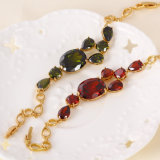 Fashion Jewelry Gold Bracelet with Colorful Zircon