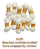 Bleached Cowhide Knotted Bone Dog Chew