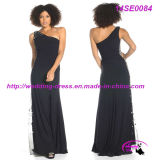 Black One Shoulder Jersey Party Dress with Side Zipper