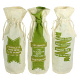 Gift Cotton Fabric Single Bottle Wine with Drawstring