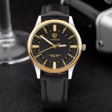 H357 Luxury High Quality Genuine Leather Men Watch Stainless Steel Case Back Quartz Watch