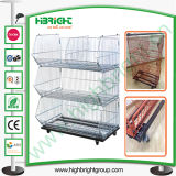 Supermarket Foldable Metal Wire Basket Display Promotion Cage