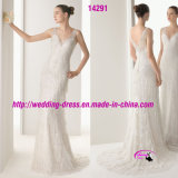 Dark V-Neckline Beaed Bridal Wedding Dress with Buttons