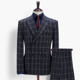 Wholesale Navy Check Slim Men Suits for Wedding