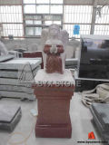 Praying Angel Pedestal Memorial Monument / Headstone of Red Granite