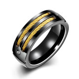 Nobel Design Stainless Steel Black Gun Plated Ring for Men