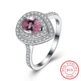 925 Sterling Silver Pink Drill with Zircon Drop Shape Ring Jewelry