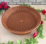 Pastoral Style Round Inmitation Rattan Fruit Basket, Sundry Storage Basket