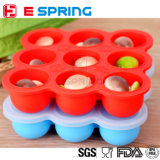 New BPA Free FDA Food Grade Non Stick Silicone Storage Baby Food Container with Clear Plastic Clip-on Lid