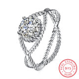 925 Sterling Silver Cross Curve Zircon Round Ring Jewelry