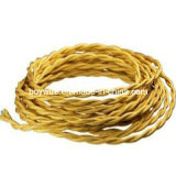Decorative Yellow Braided Twisted Lamp Wire Use for Pendant Lamp