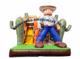 Commercial Outdoor Cowboy Theme Amusement Park Inflatable Obstacle Course