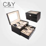 Luxury 20 Slots Drawer PU Leather Watch Storage Box