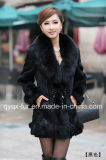 Factory Wholesale Price Women's Rabbit Fur Coat with Fox Fur Collar