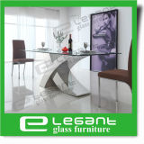 Stainless Steel Dining Table with Tempered Glass Top