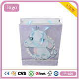 Grayish Elephants Baby Presents Coated Paper Shopping Gift Bag