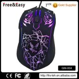Customized Soft Touch Rubber Coating Backlit Wired Gamer Mouse for PC