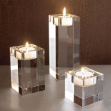 Cube Clear K9 Crystal Candle Holder for Wedding Decoration